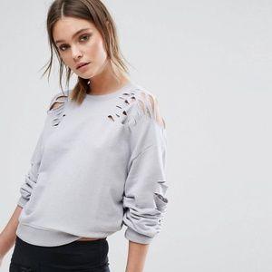 NWT Asos Distressed Slashes Grey Sweatshirt